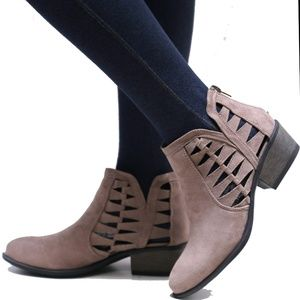 New Taupe Cutout Western Ankle Boots Booties